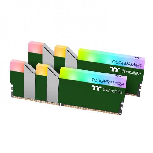 鋼影TOUGHRAM RGB記憶體  DDR4 3600MHz 16GB (8GB x2)-競速綠