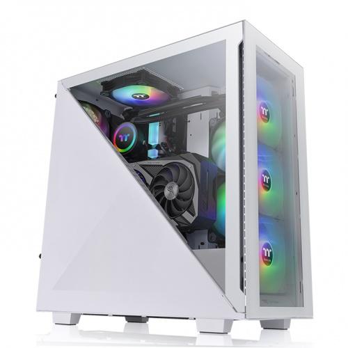 艾坦 Divider 300 TG ARGB 強化玻璃中直立式機殼 雪白版