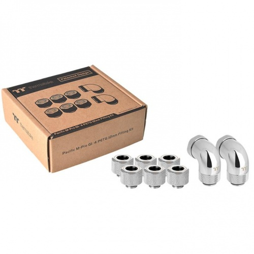 Pacific M-Pro G1/4 PETG 12mm Fitting Kit- Chrome