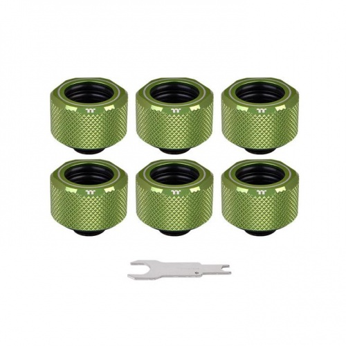 Pacific C-PRO G1/4 PETG Tube 16mm OD Compression – Green (6-Pack Fittings)