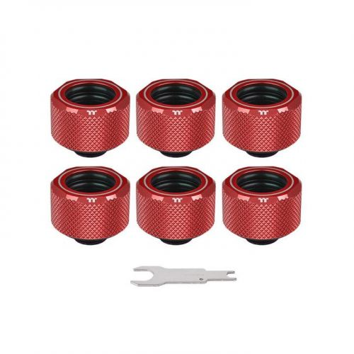 Pacific C-PRO G1/4 PETG Tube 16mm OD Compression – Red (6-Pack Fittings)