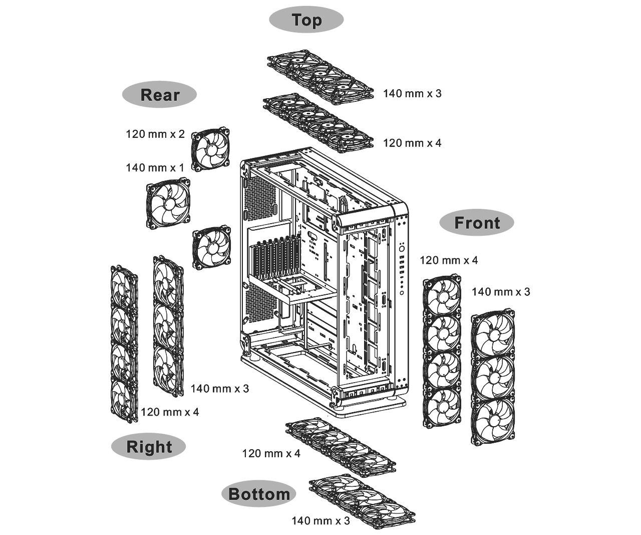 Core P8 Tempered Glass Full Tower Chassis
